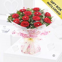 True Loves Desire 12 Red Rose Hand-tied Code JGFV96458RRW Local Delivery Only