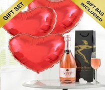 Sparkling Rosé Wine with 3 Fun Red Plain Heart Shape Helium Balloons Code: JGFV28754RHBW  Local Delivery Only