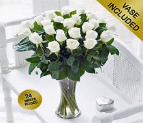 Extra Large Elegant Ivory Rose Vase Code: JGFV40103IS  Local Delivery Only