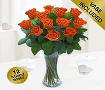 Elegant Orange Rose Vase Code: JGFV26024OR Local Delivery Only