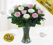 Elegant Pink and White Rose Vase Code: JGFV40101PW Local Delivery Only