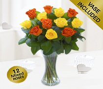 Elegant Orange and Yellow Rose Vase Code: JGFV40101OY  Local Delivery Only