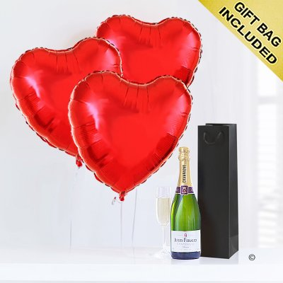 Hearts With Champagne Code: JGFV855PRBC  | Local Delivery Or Collect From Shop Only