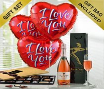 Sparkling Ros� Wine with Three Helium Red Heart I Love You Balloons and Luxury Chocolates Code: JGFV33ILYSWC