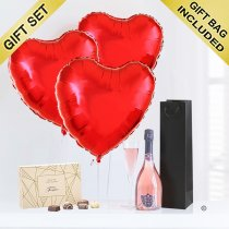 Sparkling Ros� Wine with Three Helium Plain Red Heart Balloons and Luxury Chocolates Code: JGFV33ILYSWC