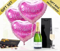 Mother's Day Hearts with Champagne and Luxury Belgian Chocolates Code: JGFM2046BCC | Local Delivery Or Collect From Shop Only