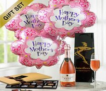 Mother's Day Celebration Sparkling Rosé Wine, Flower Balloon's and Luxury Chocolates Gift Set Code: JGFM50240ZSC Local Delivery Only