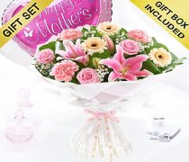 Mother's Day Flower Hand-tied with a fun helium filled Happy Mother's Day Balloon Code: JGFM5009MH-MB ( Local Delivery Or Collection Only )