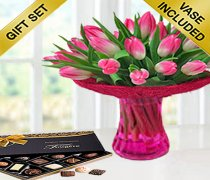 Pink Tulip Vase with Luxury Chocolates Code: JGFP598PTVC | Local Delivery Only