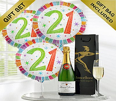 Happy 21st Birthday Gift Set A Delicious Celebration Bubbly Champagne With Balloons Code JGF21STCBGS