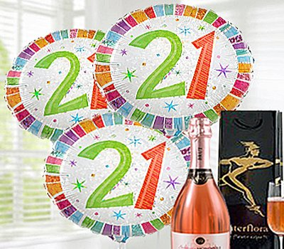 21st Happy Birthday Gift Set A Delicious Celebrationry Sparkling Rose Wine With Balloons