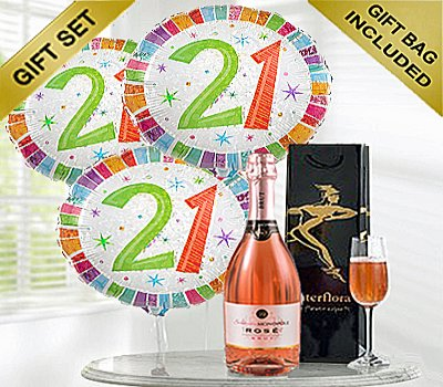 Happy 21st Birthday Gift Set A Delicious Celebrationry Sparkling Rose Wine With Balloons Code JGF21STSWBGS
