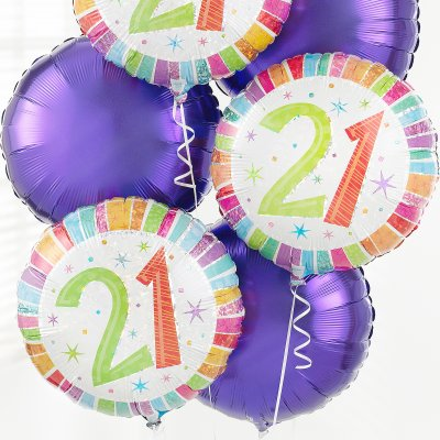 21st Birthday Balloon Bouquet Code JGF02899BB Local Delivery Or Collection Only