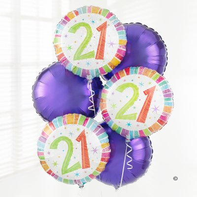 21st Birthday Balloon Bouquet Code: JGF02899BB  Local Delivery Or Collection Only