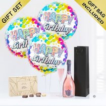 Happy Birthday  Sparkling Rosé Wine With Happy Birthday Balloons and Luxury Chocolates Code: JGFB4SWBGSC
