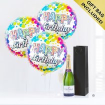 Happy Birthday Gift Set A Delicious Celebration Bubbly Champagne With Happy Birthday Balloons Code: JGFB7CBGS