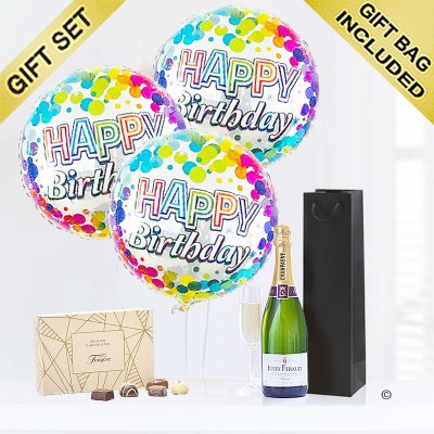 Happy Birthday Balloons with Champagne and Luxury Chocolate Gift Set Code: JGFB8CBGSC