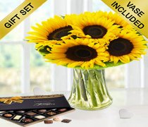 Sunflower Sunburst Vase with Luxury Chocolates Code: JGFSU54979SC | Local Delivery Only
