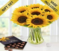 Large Sunflower Sunburst Vase with a Box of Luxury Milk Chocolate Truffles  Code: JGFSU6363LSMCT | Local Delivery Only