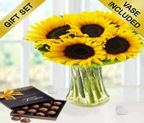 Sunflower Sunburst Vase with a Box of Luxury Milk Chocolate Truffles Code: JGFSU6369SSMCT | Local Delivery Only