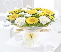Yellow and White Captivation Sympathy Handtied Code: JGF457791YHS | Local Delivery Only Or Collect From Shop