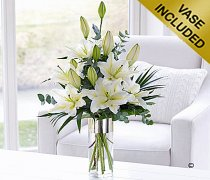 White Scented Sympathy Lily Vase Code: C04891WS