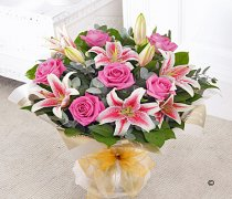 Pink Rose and Lily Sympathy Hand-tied Code: C00301PS