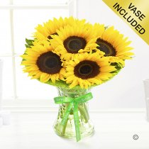 Happy Birthday Sunflower Sunburst Vase Code: JGFSUHB5SP | Local Delivery Only