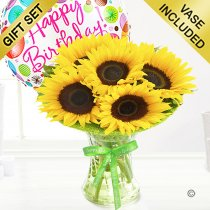 Happy Birthday Sunflower Sunburst Vase with a fun Happy Birthday Balloon Code: JGFSU54879SSHB | Local Delivery Only