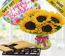 Happy Birthday Sunflower Sunburst Vase with Luxury Chocolates and a Fun Happy Birthday Balloon Code: JGFSUH549SCHB | Local Delivery Only