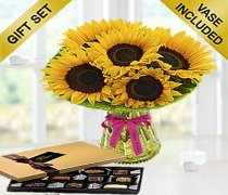 Happy Birthday Sunflower Sunburst Vase With a Luxury box of Chocolates Code: JGFSUH9719SHC | Local Delivery Only