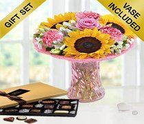 Sunflower Blush Vase With Luxury Chocolates Code: JGFSB59SC | Local Delivery Only