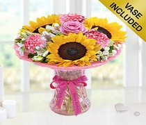 Happy Birtrhday Sunflower Blush Vase Code: JGFSH598SBHB  | Local Delivery Only