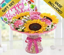 Happy Birtrhday Sunflower Blush Vase with a fun Happy Birthday Balloon Code: JGFSH98SBHBB | Local Delivery Only