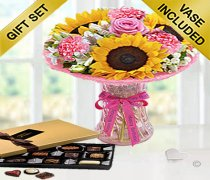 Happy Birtrhday Sunflower Blush Vase With A Box Of Luxury Chocolates  Code: JGFSH97SBHBC | Local Delivery Only