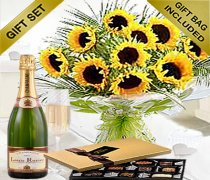Luxury Sunflower Hand-tied With Luxury Chocolates and a lovely delicious bottle of Bubbly Champagne Code: JGFSUC654HTCC | Local Delivery Only
