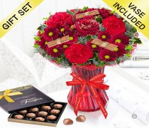 Merry Christmas Wish Vase With Luxury Chocolate Truffles Code: JGFX90047CWT  | Local Delivery Or Collect From Shop Only