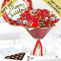 Christmas Cracker Hand-tied With Chocolate Truffles and a Christmas Helium Balloon Code JGF X80051RS-CTCB | Local Delivery Or Collect From Shop Only