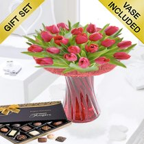 Red Tulip Vase with Luxury Chocolates Code: JGFSP40871RTC| Local Delivery Only