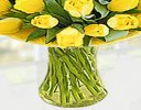 Yellow Tulip Sunshine Vase  Code: JGFSP10671YT| Local Delivery Only