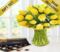 Yellow Tulip Sunshine Vase with Luxury Chocolates Code: JGFSP11671YTC| Local Delivery Only