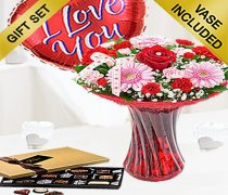Valentine Flower Perfect Gift with Luxury Chocolates and a Fun Helium filled I Love You Heart Balloon Code: JGFV8871PGB