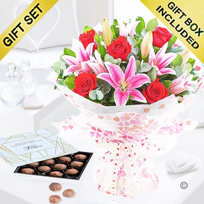 Rose and Lily Hand-tied with Luxury Belgian Chocolate Truffles Code: JGFV20072RLT | Local Delivery Or Collect From Shop Only