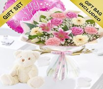 Mother's Day Flower Hand-tied with a Bailey Bear and a helium Happy Mother's Day Balloon Code: JGFM5009MHBB Local Delivery Only