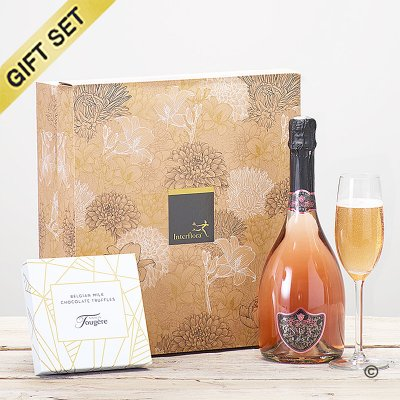 Sparkling rosé wine and luxury chocolate truffles gift set Code: JGFC08341SRT | National delivery and local delivery or collect from shop