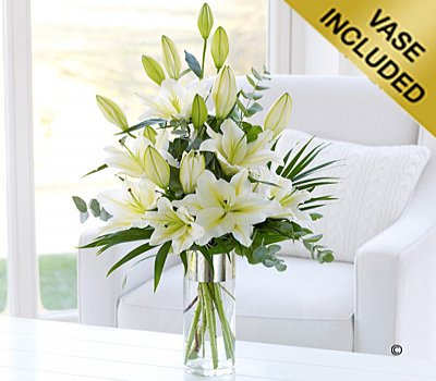 Large Scented White Oriental Lily Vase Code C04892ws