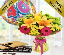 Happy Birthday Vibrant Perfect Gift with a Luxury Box Of Chocolates and a fun Happy 40th Birthday Balloon Code:JGF405VPHB