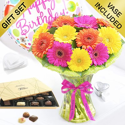 Happy Birthday Germini Cheer Vase with Luxury Chocolates and a Happy Birthday Day Balloon Code: JGFC00280GCHB| Local Delivery Only)