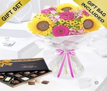 Hot Pink Sunflower Hand tied with a box of Luxury Chocolates Code: JGFSFH60431C | Local Delivery Only