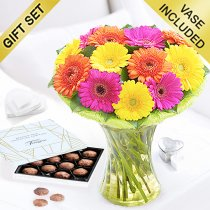 Germini Cheer Vase with a box of Luxury Chocolate Truffles Code: JGFG00280GCCT | Local Delivery Only